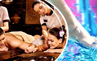 Wellness balíček pro 2 osoby: masáž, sauna, zábal + možnost rybičkové terapie Garra rufa