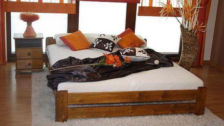 Postel s matrací a roštem EURO 180 x 200 cm - dub - lak