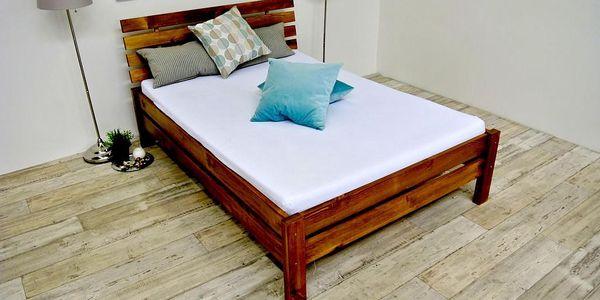 Vyvýšená postel z masivu ANNABEL + matrace + rošt 120 x 200 cm - dub - lak