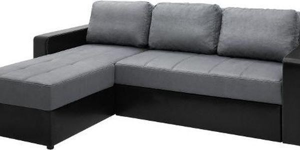 Rohová rozkládací sedačka GORDIA - černá/šedá