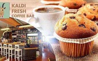 2x muffin + 2x káva nebo čaj dle výběru + 100 g čerstvě pražené kávy na Praze 2