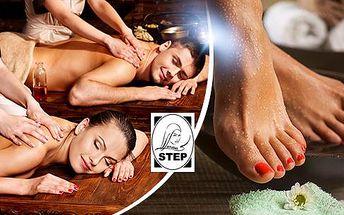 110min. relax pro 2 osoby: masáž (čoko, med, láva, aroma, klasika) a basic pedikúra!