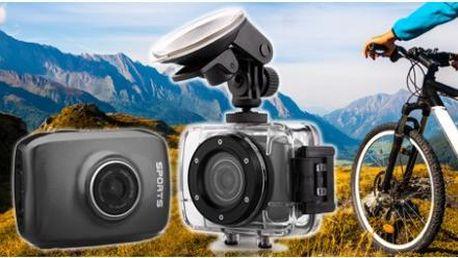 Vodotěsná outdoorová kamera s rozlišením HD 720p až do hloubky 30 m + voděodolné pouzdro, USB kabel a držáky!