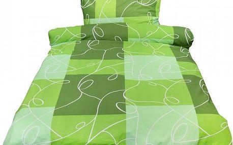 NOVIA Povlečení Comfort+, Kostky, zelená, bavlna, 2 dílné, 140x200 70x90