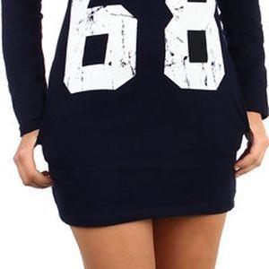 Moderní tričko/šaty s výrazným nápisem modrá
