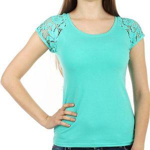 Zajímavé tričko s krajkovými rukávy zelená