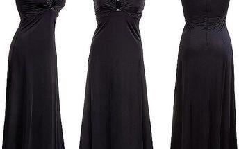 Dlouhé večerní šaty s lesklou ozdobou - velikost L