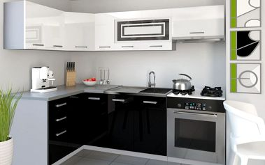 Kuchyňská linka INFINITY LIDIA P 360 cm - bílá/černá