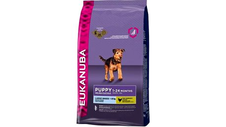 Granule Eukanuba Puppy & Junior Large Breed 15 kg + 3 kg Granule Eukanuba Puppy & Junior Large Breed 3 kg (zdarma) + Doprava zdarma