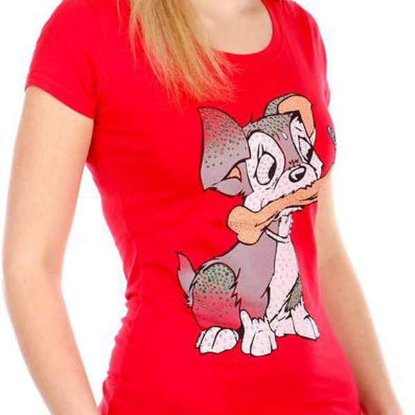 Příjemné tričko s roztomilým obrázkem červená