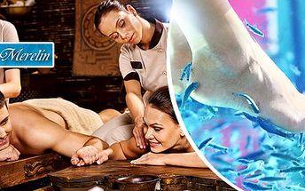Až 120 min. wellness balíček pro 2 osoby: masáž, sauna, zábal + možnost rybičkové terapie Garra rufa