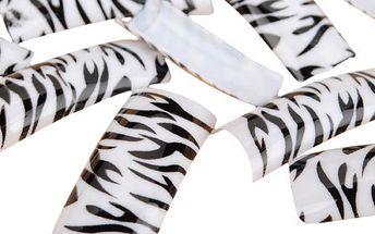 Umělé nalepovací nehty s motivem zebry - 100 kusů