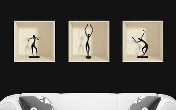 Sada 3 samolepek Ambiance s 3D efektem Ambiance Dancing Figures