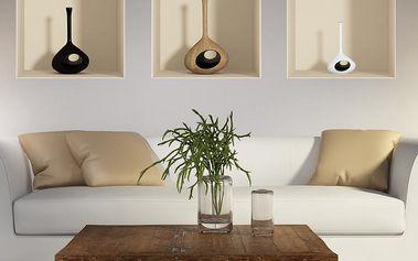 Sada 3 samolepek Ambiance s 3D efektem Ambiance Vase