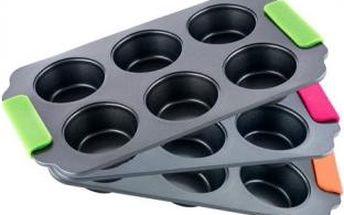 Forma na muffiny se silikonovými rukojeťmi BONIO BERGNER BG-3877ruzo