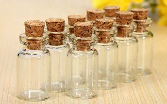 Sada 10 ks malých skleněných lahviček s korkovým uzavíráním - dodání do 2 dnů