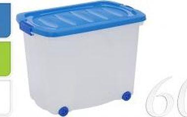 Úložný box pojízdný s klip víkem 60 l plast, modrý ProGarden KO-Y54630120modr