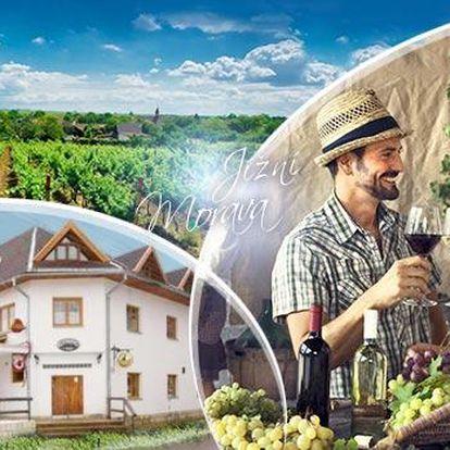 Jižní Morava. 3denní vinařský pobyt pro dva vč. polopenze, degustace a neomezené konzumace vína.
