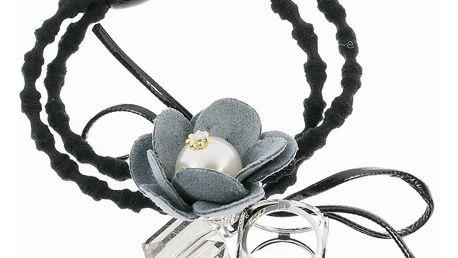 Fashion Icon Gumička do vlasů s květinou kovová stříbrná