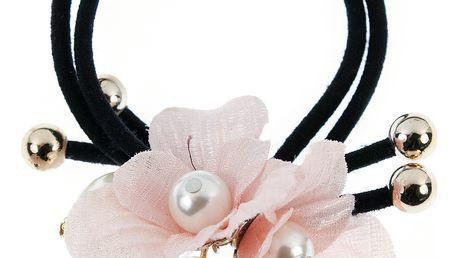 Fashion Icon Gumička do vlasů dvouřadá s květinou a perlou
