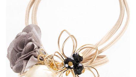 Gumička do vlasů dvouřadá s květinou a perlou kovová zlatá