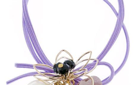 Fashion Icon Gumička do vlasů dvouřadá s květinou a perlou kovová zlatá