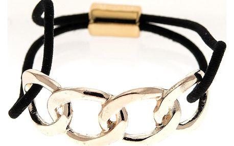 Fashion Icon Vlasová gumička s kovovou sponou řetěz