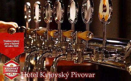 Pobyt v týdnu v Kyjovském pivovaru s polopenzí, neomezenou konzumací piva, chmelovou lázní i prohlídkou pivovaru
