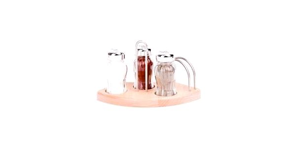 Sada sůl, pepř, paprika ve dřevěném stojanu, s kořením GALD GD-21103
