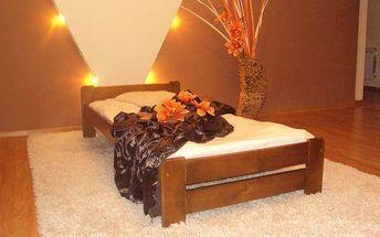 Postel s matrací a roštem EURO 120 x 200 cm - dub - lak