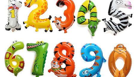 Zvířecí balonky v podobě čísel - 1 kus