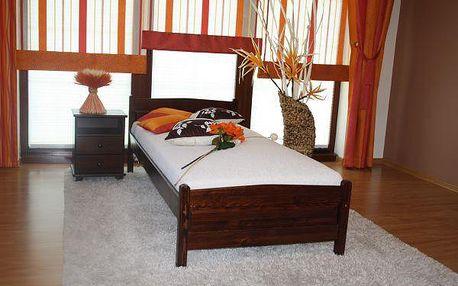 Vyvýšená postel Joana + matrace + rošt 120 x 200 cm - ořech - lak
