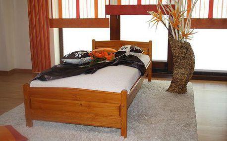 Vyvýšená postel Joana + matrace + rošt 90 x 200 cm - olše - lak
