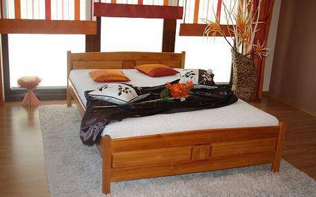 Vyvýšená postel Joana + matrace + rošt 140 x 200 cm - olše - lak