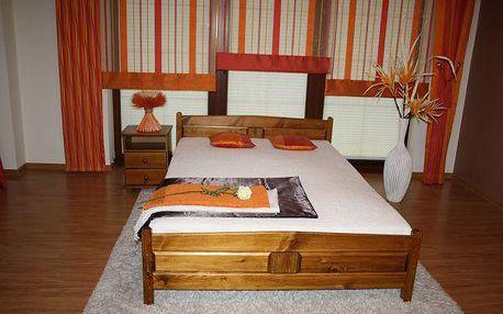 Vyvýšená postel Joana + matrace + rošt 160 x 200 cm - dub - lak