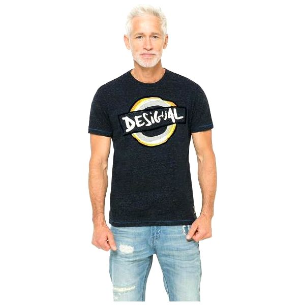 Desigual pánské tričko s potiskem M tmavě modrá