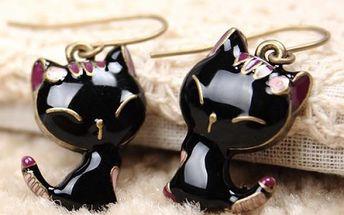 Náušnice ve tvaru kočky - černé - dodání do 2 dnů