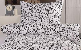 XPOSE ® Krepové povlečení ELIZABETH - bílo černá 140x200, 70x90