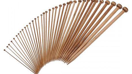 Sada 18 párů bambusových pletacích jehlic