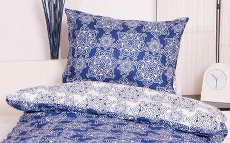 XPOSE ® Prodloužené bavlněné povlečení na dvě lůžka ILONA DUO - modrá 140x220, 70x90