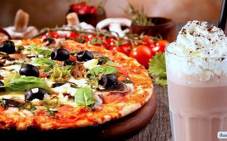 Pizza o průměru 30 cm s osvěžujícím nápojem