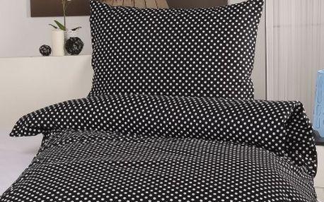XPOSE ® Prodloužené bavlněné povlečení MARKÉTA - černá 140x220, 70x90