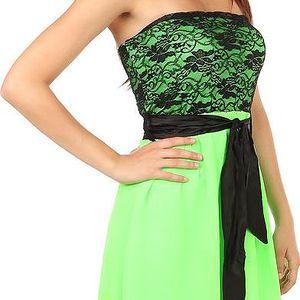 Krásné šaty s delším zadním dílem neon zelená