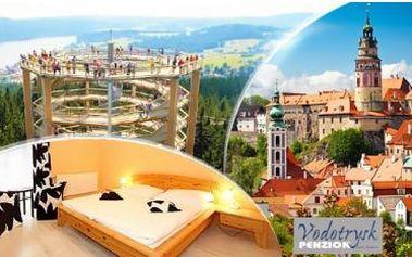 Romantický pobyt na 3 dny pro 2 osoby u centra města Český Krumlov v Penzionu Vodotrysk, včetně snídaní a večeře!