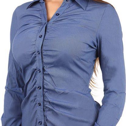 Stylová košile s dlouhým rukávem na knoflíky tmavě modrá