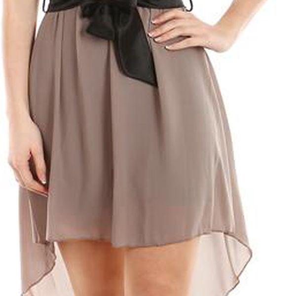 Krásné šaty s delším zadním dílem šedá