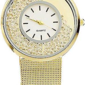 Hodinky v luxusním provedení s kamínky - zlatá barva - dodání do 2 dnů