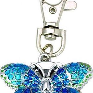 Motýl - klíčenka s hodinkami - poštovné zdarma