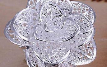 Prstýnek květ - stříbrná barva