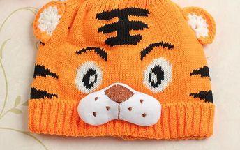 Dětská zimní čepička s motivem tygra